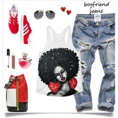 my boyfriend jean by tato-eleni on Polyvore featuring polyvore, mode, style, adidas Originals, Vivienne Westwood, Christian Dior, Chanel, Nina Ricci, Péro and fashion