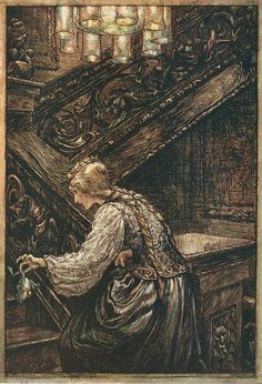 So she seized him with two fingers, and carried him upstairs; The Princess and the Frog - The Fairy Tales of the Brothers Grimm, 1909