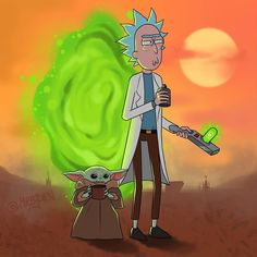 Rick and Morty x The Mandalorian Rick And Morty Drawing, Rick And Morty Tattoo, Justin Roiland, Ricky Y Morty, Rick Und Morty, Rick And Morty Characters, Rick And Morty Poster, Stock Art, Animation Series