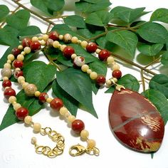 Red Bend Jasper Cream Riverstone Czech Beige Crystal Gemstone Necklace | KatsAllThat -  on ArtFire