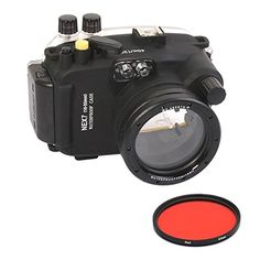 Meikon 40M Waterproof Underwater Camera Housing Case Bag for Sony NEX6 1650mm Lens Camera With 67mm Red Filter ** Click image for more details-affiliate link. #WaterproofCameras