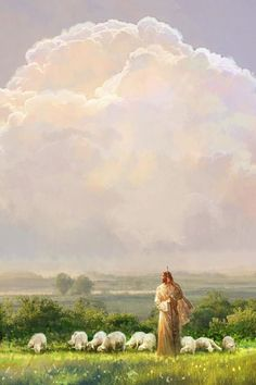 painting of jesus christ walking in a field leading a flock of sheep with a big sky full of clouds Jesus Christ Lds, God Jesus, Savior, Pictures Of Jesus Christ, Jesus Christ Images, Image Of Jesus, Arte Lds, Jesus Christ Painting, Paintings Of Christ