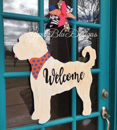 Your place to buy and sell all things handmade Excited to share this item from my shop: Doodle Door Hanger Wooden Door Signs, Wood Doors, Barn Doors, Goldendoodle, Welcome Signs Front Door, Door Hanger Template, Burlap Door Hangers, Classic Doors, Dog Signs