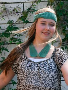 Green headband and collar hand knit by PifflingKnits.