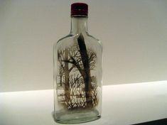 ARTE RECICLADO-Botellas de vidrio recicladas pintadas con humo