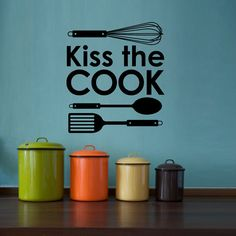 Kiss the Cook Wall Decal Kitchen Utensils  by StephenEdwardGraphic