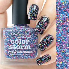 piCture pOlish NEW matte glitter 'Color Storm' seen here over Black swatch collage by Lacquertude launching soon!  www.picturepolish.com.au