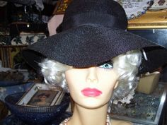 Vintage 1950s Sexy Black Wide Brim Hat by LavenderPathAntiques, $32.00