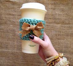 Crochet Coffee Cozy in Teal with Burlap Bow by faithsyarnworks, $10.50