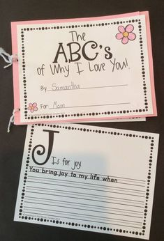 """Mother's Day Craft - This printable book: """"The ABC's of Why I Love You!""""  makes a great keepsakes for kids to give to their moms on Mother's Day.  This project is great for kids to complete at school because it allows your students to practice writing while creating a fun project for their moms."""