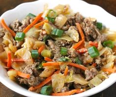 Egg Roll in a Bowl - a healthy one pot recipe for cabbage and sausage stir fry that tastes just like egg roll filling. #paleo #glutenfree #chowstalker