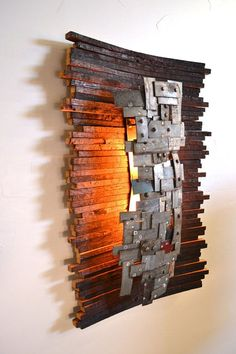 Atelier Collection - Hehku - Art and Wall Light / Old Wood Napa Wine Barrel - Recycling! STUDIO Hehku art and wall lamp made Etsy Barrel Projects, Wood Projects, Wood And Metal, Metal Art, Wine Barrel Rings, Wine Barrels, Wine Cellar, Barris, Wine Barrel Furniture