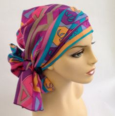 Spring Summer Pink Turban Hat Chemo Hat Head Wrap by TurbanDiva, $59.95