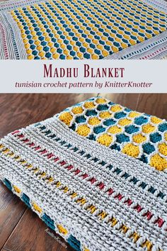 If you want to challenge yourself, try this Tunisian crochet blanket made with a honeycomb section in the center and a beautiful overlay border. This is constructed in one piece and uses overlay stitches to achieve the design in all sections. Except for the overlay stitches, all other stitches used in the blanket are very easy to make. #knitterknotter #madhublanket #honeycombpattern #tunisiancrochet Tunisian Crochet Blanket, Tunisian Crochet Patterns, Crochet Afghans, Crochet Blankets, Crochet Cross, Crochet Home, Diy Crochet, Corner To Corner Crochet, Crocodile Stitch