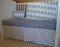 elephant and chevron crib | chevron and elephant crib bedding | My future children will have style