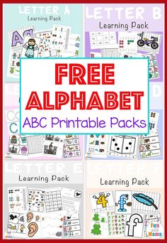 Free Printable ABC Alphabet letter packs for preschoolers and kindergarteners perfect for homeschool. Includes beginning letter sounds art mazes counting matching sequencing and more! Preschool Learning Activities, Free Preschool, Preschool Printables, Abc Printable, Free Alphabet Printables, Teaching Kids, Teaching Resources, Routine Printable, Preschool Prep