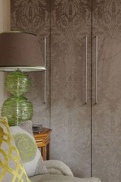 Patterned wardrobe doors. Wallpaper #wardrobes #closet #armoire storage, hardware, accessories for wardrobes, dressing room, vanity, wardrobe design, sliding doors,  walk-in wardrobes.