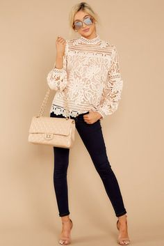 Fantasy Is A Necessity Cream Lace Top Gorgeous White Lace . Read more The post Fantasy Is A Necessity Cream Lace Top appeared first on How To Be Trendy. Look Fashion, Fashion Outfits, Fashion Trends, Man Fashion, Fashion Images, Paris Fashion, Retro Fashion, Korean Fashion, Spring Fashion