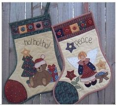 Santa's Christmas Stockings - Bear and Angel by Suzanne Gray