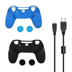 Bonacell Silicone Skin Covers and Thumbstick Caps Set for PS4 Controller 2 Skins 4 Thumpstick Caps 1 Charging Cable >>> See this great product.Note:It is affiliate link to Amazon.