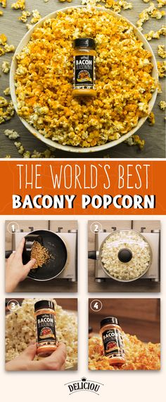This is the world's best homemade popcorn recipe. In 4 simple steps you will impress everyone by making an incredible Bacon Seasoned popcorn batch. Bacon Popcorn, Popcorn Snacks, Flavored Popcorn, Popcorn Bowl, Vegan Appetizers, Appetizer Recipes, Snack Recipes, Cookie Recipes, Homemade Popcorn Recipes