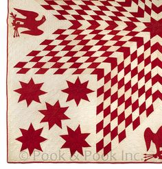 Pieced lone star and eagle quilt, late 19th c.
