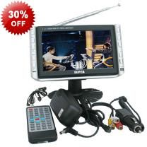 Portable 7 Inch TV And Digital Photo Frame - Colour LCD Screen - Remote Control - Car Adapter