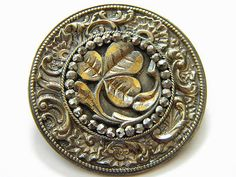 Antique Vintage Brass Metal Picture Button Cut Steel Lucky Clover Victorian Old