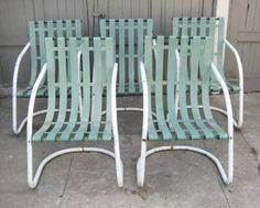 "Vintage metal ""bouncer"" lawn chairs"