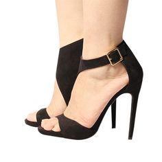 Grátis frete 2015 marca nova verão mulheres abrir toe fivela sandálias de salto alto fino moda preto / vermelho cortado big eua tamanho 5,5-11