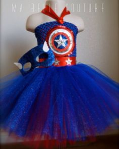 Made to order. Captain America Red,Royal blue and silver tutu dress. Great for Birthday parties, Halloween, photo shoots or even dress up.