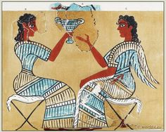 """Minoan civilization was on balance a matriarchal society with social equality between the sexes, lead by both Kings and Queens. Illustrated is the """"Camp Stool Fresco,"""" which shows what is believed to be a woman on the left sharing a cup with a man or a woman on the right. In other frescoes, male figures are depicted with brown skin and female figures with white skin. (wikipedia)"""