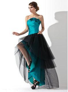 A-Line/Princess Strapless Asymmetrical Taffeta Tulle Prom Dress With Ruffle Flower(s)