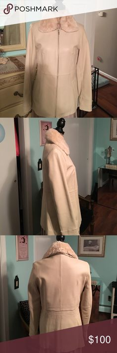Jones New York leather and rabbit fur jacket Gorgeous! Pics do no justice to this jacket by Jones NY!!! Cream leather in perfect condition with soft red rabbit fur removable collar,silver zip, size medium, flattering fit, sleeves are a bit long Jones New York Jackets & Coats Blazers