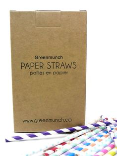 Greenmunch - Bulk Paper Straws - Carton (2400 Straws), $192.00 (http://www.greenmunch.ca/bulk-paper-straws/bulk-paper-straws-carton-2400-straws/)