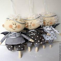 Купить Ангел Серебряный Кукла Текстильная Игрушка на Елку - ангел, ангелочки, рождественский ангел