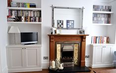 Custom carpentry and bespoke furniture makers, modern and classic alcove units London Living Room, New Living Room, Living Room Interior, Alcove Bookshelves, Fireplace Shelves, Bookcases, Alcove Storage, Alcove Shelving, Living Room Built Ins