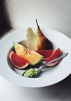 Breakfast fruit with lime infused sugar.  #Amica #inteligentnystyl www.amica.com.pl