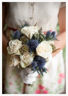 cream, blue/purple and green bouquet - because of what ever chose, we would do it without the green