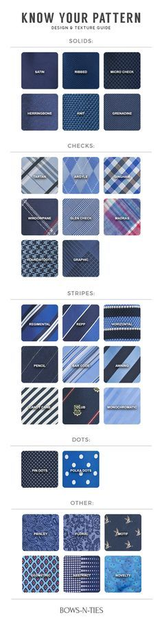 A Complete Guide to Tie Patterns -- I can't vouch for completeness, but this does give the names for a lot of different patterns you'll find in ties.