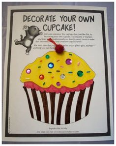 if you give a cat a cupcake Laura Numeroff. It would be fun to bake cupcakes to decorate, that way you could cover:literacy, math, social, and daily living skills. Preschool Books, Preschool Activities, Kindergarten Phonics, Summer Activities, Fall Preschool, Preschool Lessons, Kindergarten Reading, Therapy Activities, Cat Cupcakes
