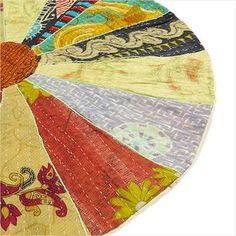 Handmade Bengal Colorful Boho Kantha Bohemian Round Floor Seating Pillow Cushion Throw Cover - Browse Eyes of India for beautiful collection of Indian home decorative items and bohemian decor https://www.eyesofindia.com FREE SHIPPING WORLDWIDE for boho pillows, boho floor cushions, boho  pouf cushions, bohemian bedding, bohemian throws, bohemian rugs, bohemian wall hangings tapestries, knobs, hooks, handles, boho scarves, bohemian shawls, boho bags, bohemian purses & more. #Bohemian…