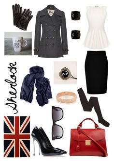 Sherlock by midsummersdreaming on Polyvore featuring Alexander McQueen, Burberry, DKNY, Marni, Casadei, Marc Jacobs, Carolina Bucci, Mimco, Ray-Ban and Jonathan Adler