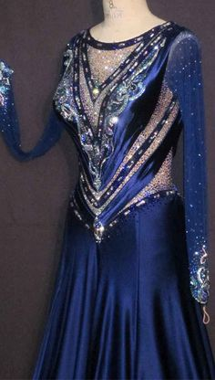 B12065 Sapphires And Diamonds closeup navy blue with silver modern dress crystal bodice design