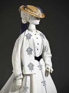 1864-76 seaside ensemble. Cotton jacket, bodice, and skirt with machine embroidery.  LACMA, M.2007.211.944a-c.