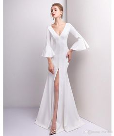 Sexy High Split White Mermaid Long Dresses For Prom Evening 2018 Deep  V-Neck Satin Evening Dress With Sleeves Formal Gown Robe Longue Soiree b4a017ae0a9f