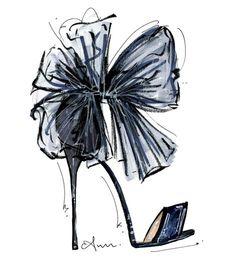 Jimmy Choo Lilyth velvet heels with a tulle bow -- anum tariq illustrations