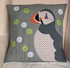 Puffin handmade Applique Cushion. £59.00, via Etsy.