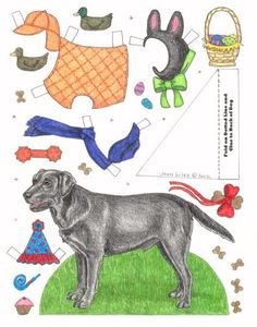 Labrador Retriever Barbie Paper Dolls, Vintage Paper Dolls, Horse Crafts, Dog Crafts, Catholic Catechism, Mushroom Crafts, Paper Art, Paper Crafts, Paper Animals