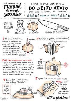 Como cortar uma cebola do jeito certo pra não engatar no chororô! Um dos manuais… #manuais #vidadesolteiro #cebola #howto